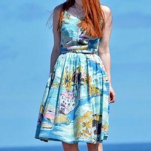 Boden Blue Nancy Riviera Print Lined Dress Sz 6